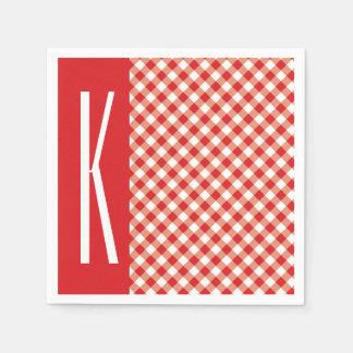 Guinga diagonal roja y blanca servilletas de papel