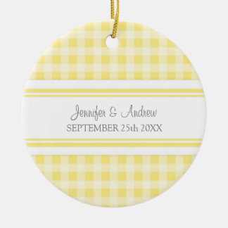 Guinga gris del limón del favor del ornamento del adorno navideño redondo de cerámica