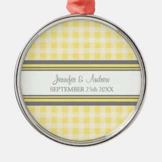 Guinga gris del limón del favor del ornamento del adorno navideño redondo de metal