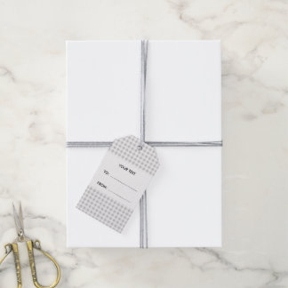 Guinga gris y blanca, su monograma etiquetas para regalos