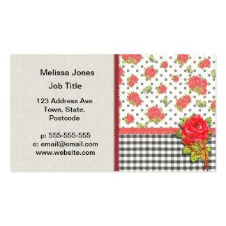 Guinga negra con los rosas rojos y los puntos tarjetas de visita