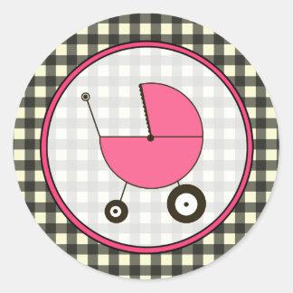 Guinga negra y pegatina rosado del carro de bebé