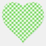 Guinga Patern a cuadros de la verde lima Pegatina En Forma De Corazón