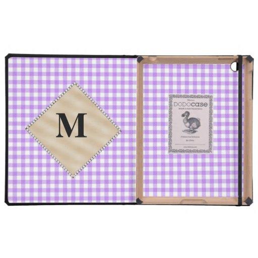 Guinga púrpura, monograma de la perla iPad funda
