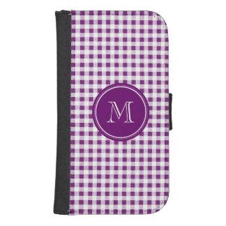 Guinga púrpura y blanca, su monograma carteras para teléfono