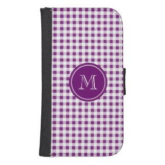 Guinga púrpura y blanca, su monograma fundas cartera para teléfono