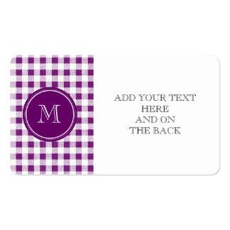Guinga púrpura y blanca, su monograma tarjetas de visita