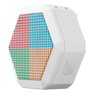 guinga, remiendo, verde, rojo, blanco, naranja, altavoces bluetooth blancos boombot REX