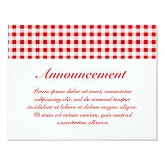 """Guinga roja + Color de encargo Invitación 4.25"""" X 5.5"""""""