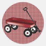 Guinga roja con el carro etiqueta redonda