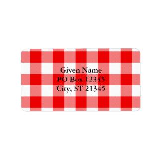 Guinga roja etiquetas de dirección