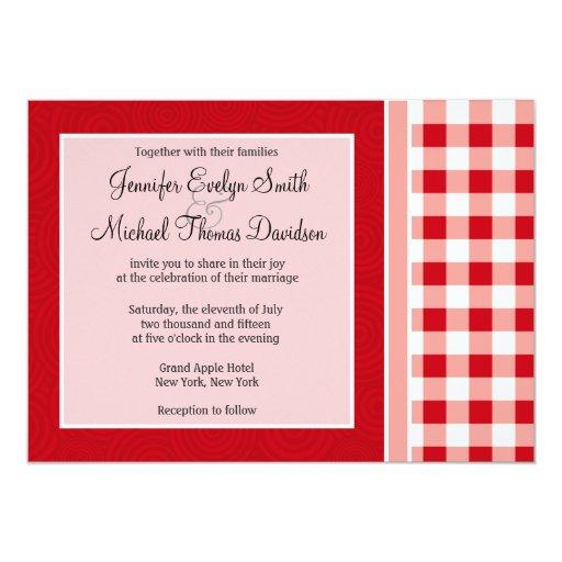 Guinga roja invitación 12,7 x 17,8 cm