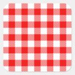 Guinga roja pegatinas cuadradases personalizadas
