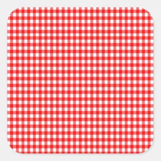 guinga roja y blanca del control minúsculo pegatina cuadrada