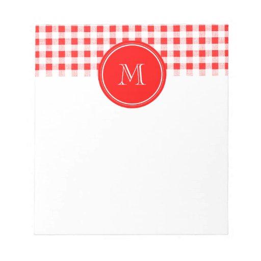 Guinga roja y blanca, su monograma bloc de papel