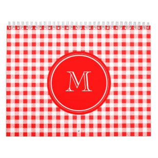 Guinga roja y blanca, su monograma calendario de pared