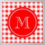 Guinga roja y blanca, su monograma impresiones