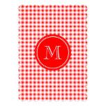 Guinga roja y blanca, su monograma invitación 12,7 x 17,8 cm