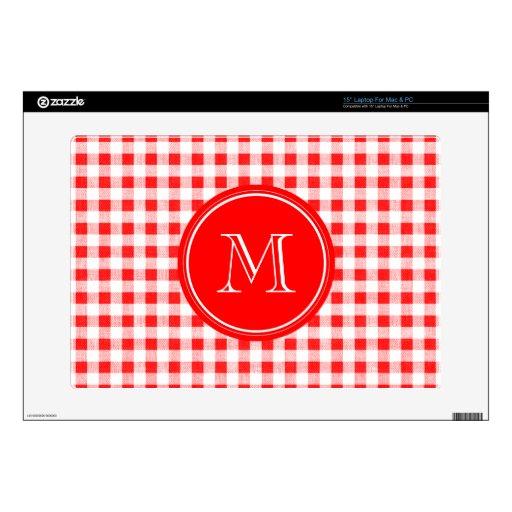 Guinga roja y blanca, su monograma skins para 38,1cm portátil