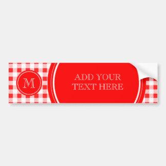 Guinga roja y blanca, su monograma pegatina para auto