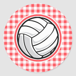 Guinga roja y blanca; Voleibol Pegatina Redonda
