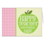 Guinga rosada de Apple del verde del día del aprec Felicitación