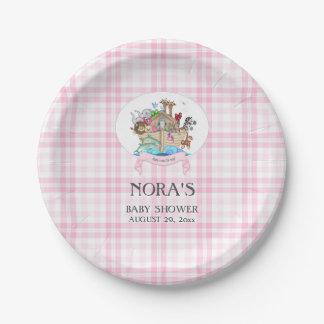Guinga rosada de los animales de la arca de Noah Platos De Papel