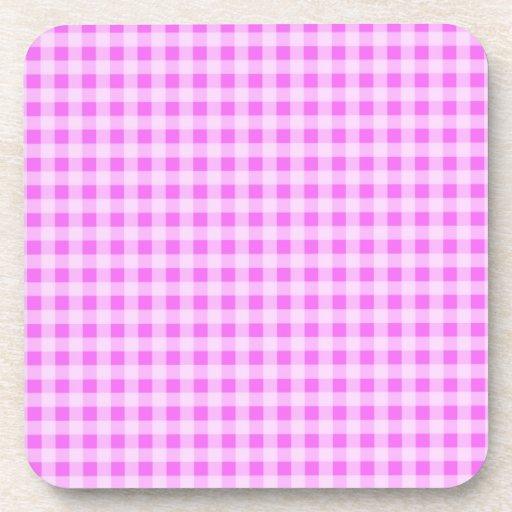 Guinga rosada fucsia; A cuadros Posavasos De Bebidas