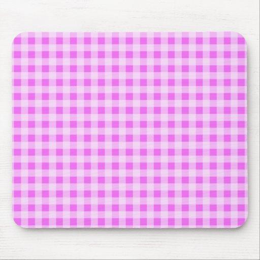 Guinga rosada fucsia; A cuadros Alfombrillas De Ratón