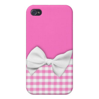 Guinga rosada y femenina con el arco de la cinta iPhone 4 cobertura