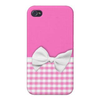 Guinga rosada y femenina con el arco de la cinta iPhone 4/4S carcasas