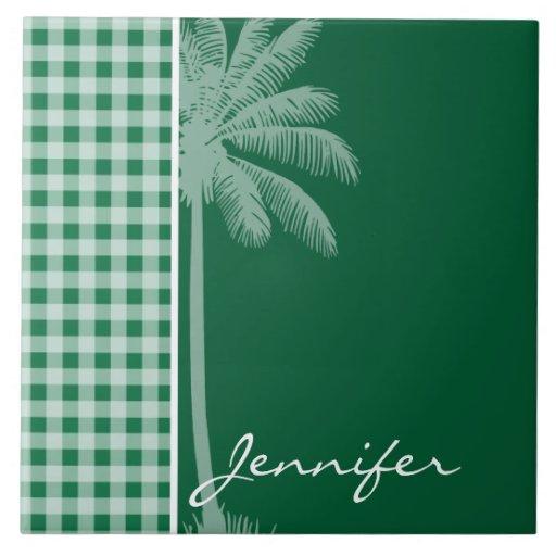 Guinga verde del cadmio; A cuadros; Palma Azulejo