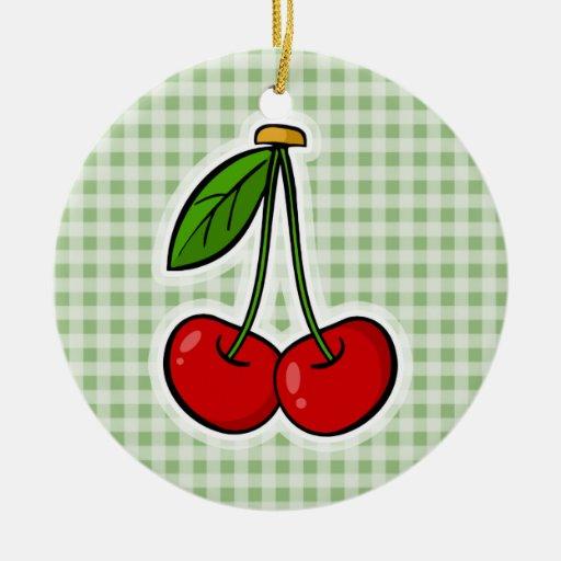 Guinga verde del laurel; Cerezas lindas Adorno Redondo De Cerámica
