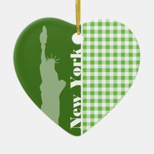Guinga verde Nueva York; Estatua de la libertad Adorno De Cerámica En Forma De Corazón