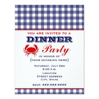 """Guinga y cangrejo azules del fiesta de cena invitación 4.25"""" x 5.5"""""""