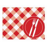 Guinga y cubiertos rojos postales