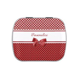 Guinga y lunares rojos y blancos con nombre jarrones de caramelos
