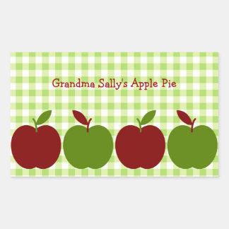 Guinga y manzanas pegatina rectangular