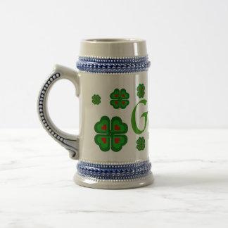 Guinness Ale Irish, Ireland shamrock, clover Beer Stein