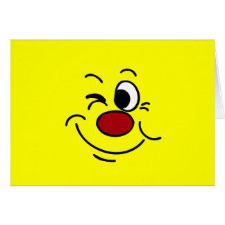 Guiño de la cara sonriente Grumpey Tarjeta Pequeña