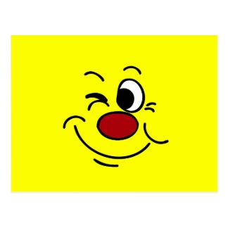 Guiño de la cara sonriente Grumpey Tarjetas Postales