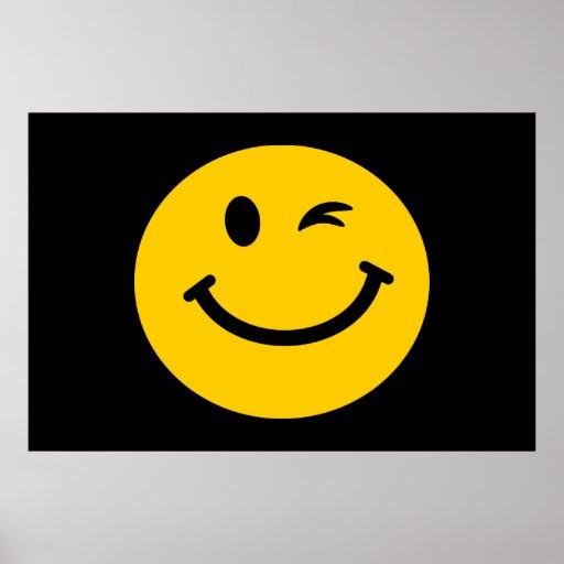 Guiño de la cara sonriente póster