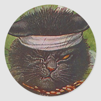 Guiño de la expresión del gato negro del medio de pegatinas redondas