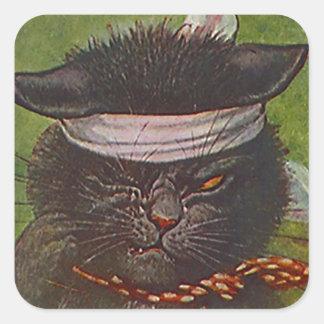 Guiño de la expresión del gato negro del medio de calcomania cuadradas personalizada