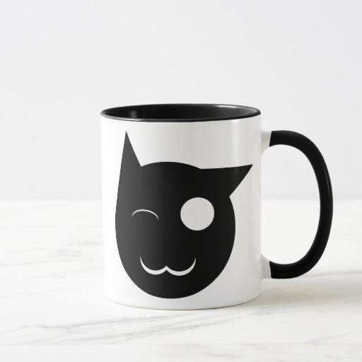Guiño de la taza del gato negro
