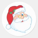 Guiño de Papá Noel Etiquetas Redondas