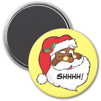 Guiño de Santa negro que guarda secretos del navid Imán Redondo 7 Cm