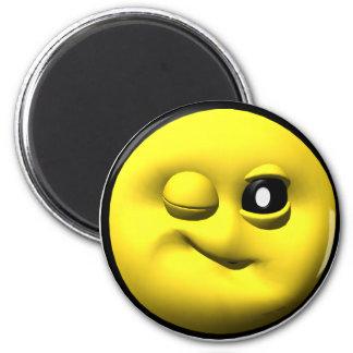 Guiño de smiley amarillo imanes