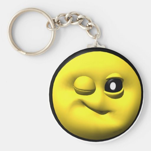Guiño de smiley amarillo llavero personalizado