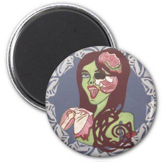 Guiño del chica del zombi imán redondo 5 cm